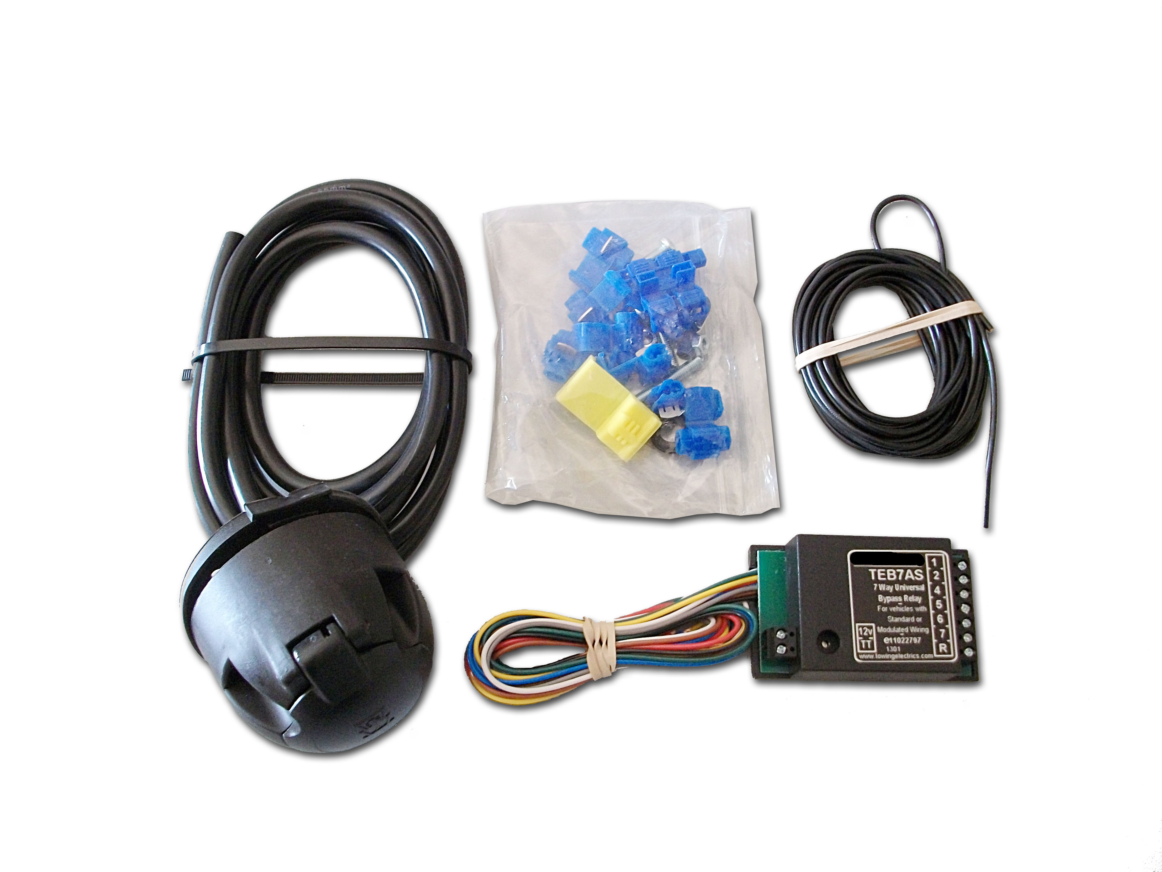 7 pin Universal Fitting Towing Electrics Kit With 7 Way Bypass Relay